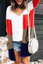 Multicolor Fashion Striped Cardigan Colorblock Coat
