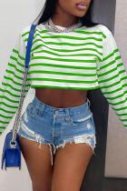 Green Fashion Casual Striped Print Basic O Neck Tops