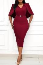 Burgundy Casual Solid Split Joint V Neck Pencil Skirt Plus Size Dresses