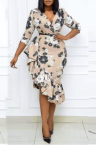 Apricot Casual Print Split Joint V Neck Irregular Dress Plus Size Dresses