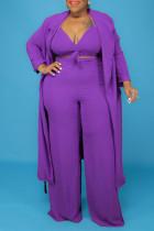 Purple Fashion Casual Solid Bandage V Neck Plus Size Three-piece Set