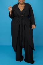 Black Fashion Casual Solid Bandage V Neck Plus Size Three-piece Set