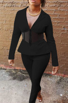 Black Casual Solid Split Joint See-through Turn-back Collar Long Sleeve Two Pieces