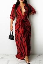 Red Fashion Sexy Print Split Joint Turndown Collar One Step Skirt Dresses