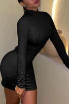 Black Sexy Solid Backless Half A Turtleneck Pencil Skirt Dresses