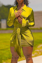 Gold Casual Solid Bandage Split Joint Buttons Fold Turndown Collar Shirt Dress Dresses
