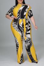Yellow Casual Print Split Joint Oblique Collar Plus Size Jumpsuits
