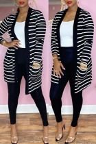 Black Fashion Casual Striped Print Cardigan Pants Long Sleeve Two Pieces