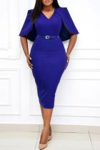 Blue Casual Solid Split Joint V Neck Pencil Skirt Plus Size Dresses