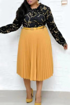Gold Fashion Casual Print Split Joint O Neck Pleated Plus Size Dresses