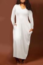 White Fashion Casual Solid Split Joint V Neck One Step Skirt Dresses