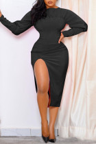 Black Sexy Casual Solid Slit O Neck Long Sleeve Dresses