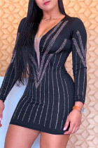 Black Sexy Patchwork Hot Drill V Neck Long Sleeve Dresses