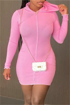 Pink Fashion Casual Solid Basic Hooded Collar Long Sleeve Dresses