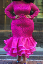 Rose Red Sexy Patchwork Solid See-through O Neck Long Sleeve Evening Dress