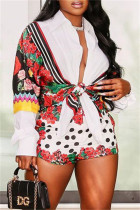 Multicolor Fashion Casual Print Basic Turndown Collar Long Sleeve Two Pieces