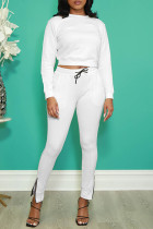 White Fashion Casual Solid Basic O Neck Long Sleeve Two Pieces