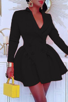 Black Fashion Solid Split Joint Turndown Collar Long Sleeve Dresses