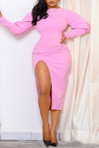 Pink Sexy Casual Solid Slit O Neck Long Sleeve Dresses