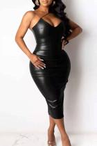 Black Sexy Plus Size Solid Backless Slit Spaghetti Strap Sleeveless Dress