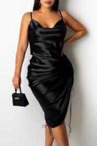 Black Fashion Sexy Solid Draw String Spaghetti Strap A Line Dresses