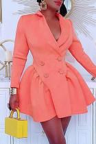Pink Fashion Solid Split Joint Turndown Collar Long Sleeve Dresses