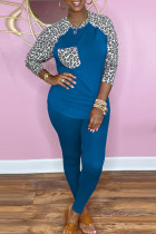Blue Fashion Casual Print Split Joint O Neck Long Sleeve Two Pieces