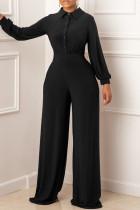 Black Fashion Casual Solid Split Joint Turndown Collar Regular Jumpsuits