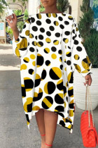 White Fashion Print Polka Dot Split Joint Asymmetrical Off the Shoulder Straight Dresses