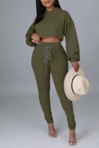 Army Green Fashion Casual Solid Frenulum Backless Hooded Collar Long Sleeve Two Pieces