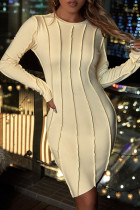 Yellow Fashion Solid Split Joint O Neck Long Sleeve Dresses