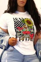White Street Party Print Split Joint O Neck T-Shirts
