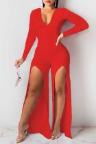 Red Casual Solid Slit V Neck Regular Jumpsuits