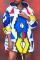 Colour Casual Print Split Joint Hooded Collar Straight Dresses