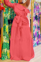 Watermelon Red Fashion Casual Solid Backless Oblique Collar Long Sleeve Dresses