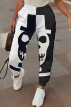 White Fashion Casual Print Split Joint Regular High Waist Trousers