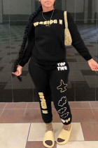 Black Fashion Casual Letter Print O Neck Long Sleeve Two Pieces