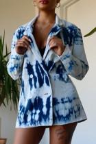 Blue Fashion Casual Print Cardigan Turndown Collar Outerwear