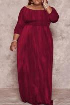 Burgundy Fashion Casual Plus Size Print Basic O Neck Long Dress