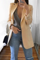 Apricot Casual Long Sleeves Suit Jacket