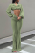 Green Casual Split Joint Boot Cut High Waist Speaker Solid Color Bottoms