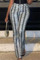 Leopard Print Fashion Casual Print Basic Regular High Waist Trousers