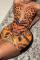 Leopard Print Sexy Print Mesh O Neck Pencil Skirt Dresses