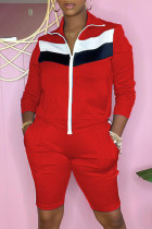 Red Fashion Casual Patchwork Basic Zipper Collar Long Sleeve Two Pieces