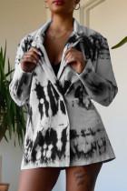 Black Fashion Casual Print Cardigan Turndown Collar Outerwear