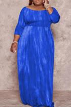 Blue Fashion Casual Plus Size Print Basic O Neck Long Dress