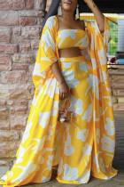 Yellow Fashion Casual Print Split Joint Strapless Plus Size Three Pieces