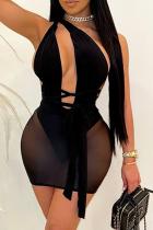 Black Sexy Solid Mesh Halter Pencil Skirt Dresses