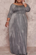 Grey Fashion Casual Plus Size Print Basic O Neck Long Dress