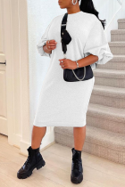 White Casual Solid Split Joint O Neck Straight Dresses